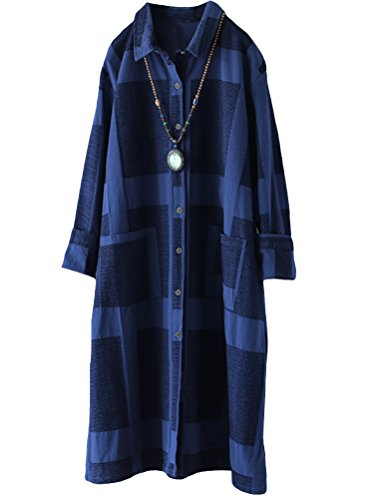 Minibee Women's Button Down Shirts Blouses Casual Loose Fit Tunic Royal Blue L