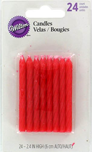 Wilton Birthday Candles, 2.5-Inch, Red, 24-Pack -