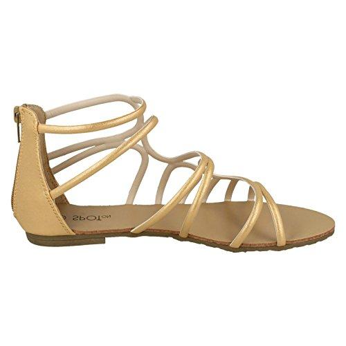 Spot en planas de de oro tiras damas sandalias SS8dxArq