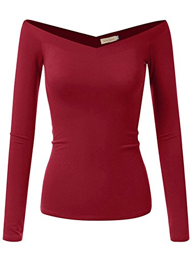Kate Kasin Sexy Long Sleeve Tank Tops V-Neck for Women(2XL,Wine K1029) (V-neck Tank Sleeve Top Long)