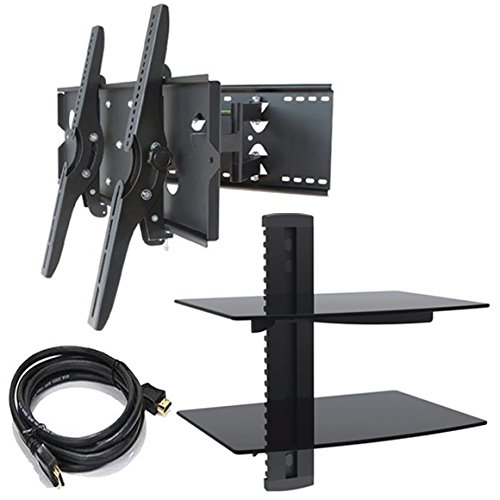 2xhome – NEW TV Wall Mount Bracket (Dual Arm),HDMI Cable & Two (2) Double Shelf Package – Secure Cantilever LED LCD Plasma Smart 3D WiFi Flat Panel Screen Monitor Moniter Display Large Displays - Long Swing Out Dual Double Arm Extending Extendible Adjusting Adjustable - Dual 2 Tier Under TV Tempered Glass Floating Hanging Shelves Shelving Unit Rack Tower Set Bundle - Full Motion 15 degree degrees Tilt Tilting Tiltable Swivel Articulating Heavy Duty Strong Durable Support - Mounted Mounting Home Entertainment Media Center Multimedia Furniture Family Living Room Game Gaming - Management Designer Organization Space Saver System HDTV HDMI HD Video Accessories Audio Video AV Component DVR DVD Bluray Players Cable Boxes Consoles Satellite XBox PS3 - Compatible VESA 100mm x 100mm, 200mm x 200mm, 400mm x 400mm , 600mm x 400mm, 700mm x 450mm, 718mm x 450mm, 720mm (W) x 470mm(H) - Universal Fit for LG Electronics Samsung Vizio Sharp TCL Toshiba Seiki Sony Sansui Sanyo Philips RCA Magnavox Panasonic JVC Insignia Hitachi Emerson Element SunBrite SunBright 45