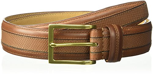 Cole Haan - Cinta elástica de 35 mm con costura para hombre, Chestnut With Polished Brass (Chs), 34