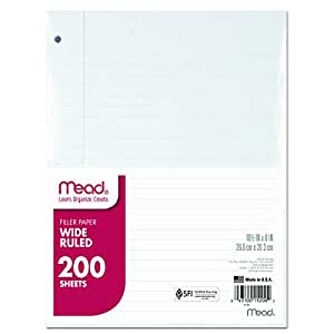 Mead 15200 Filler Paper, 15lb, Wide Rule, 3 Hole, 10 1/2 x 8 (Pack of 200 Sheets)