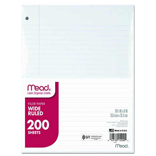 Mead 15200 Filler Paper, 15lb, Wide Rule, 3 Hole, 10 1/2 x 8 (Pack of 200 (3 Hole Paper)