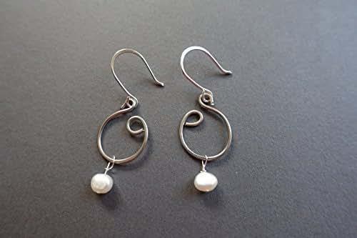 sterling steel and pearl earrings handmade