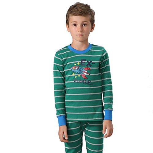 Leo&Lily Big Boys Cotton Stripe Printed Pajamas Sets (Green, 8)