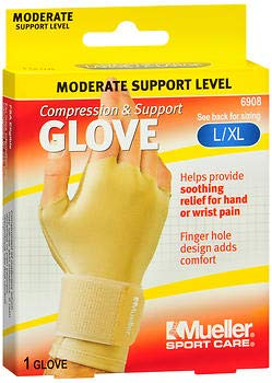 Mueller Sport Care Compression & Support Glove L/XL 6908-1 Glove, Pack of 3