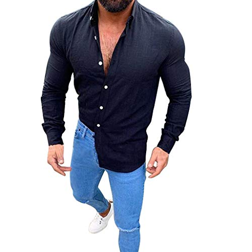Dress Shirt Long Sleeve Slim Fit Button Down New Slub Button-Lapel Top Fashionable Comfortable Shirt Men (3XL,Black) ()