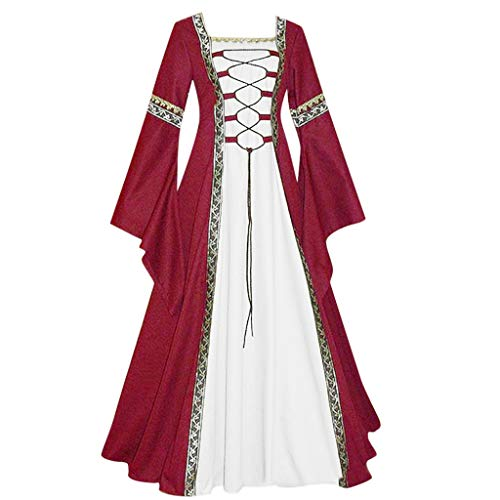 Caopixx Dress for Women Elegant 1950s Vintage Long Sleeve Medieval Dress Floor Length Cosplay Costume Princess ()