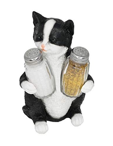 Black Tabby Cat - Home-X Decorative Black and White Kitty Cat Salt and Pepper Holder Set Figurine | Decorative Pet Statues and Sculptures As Kitten Kitchen Table Decoration Gifts for Cat Owners - by Home-X