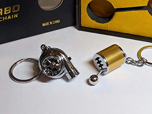 Be-Creative Electric LED Turbo Charger Keyring 2 Turbo Sounds,Spin,Light Retail Packing (Gold Gear + Chrome Turbo):