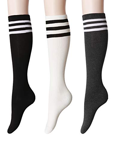 OSABASA Womens Referee Knee High Socks 3Pairs 1 Set Pack with Multi Colors SET5 M (KWMS077)