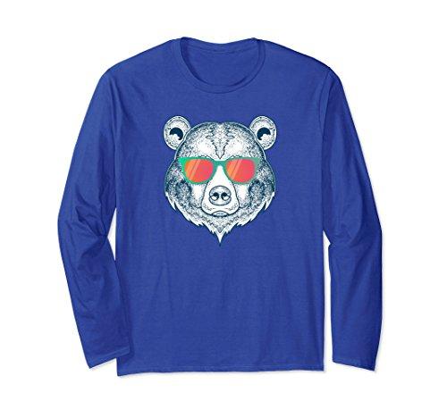 Unisex Long Sleeve Funny Polar Bear Wearing Sunglasses Shirt Small Royal - Bear Sunglasses Wearing