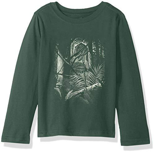 Crazy 8 Boys' Big Long Sleeve Graphic Tee, Dark Green Dino Scene, S -