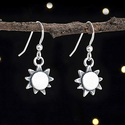 (Sterling Silver Sunshine, Summer Sun Earrings - Double Sided - Solid .925 Sterling Silver, Ready to Ship)