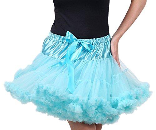 FEOYA Adulto Mujeres Princesa Danza Mini Falda de Doble Capas de Gasa Tutú Enagua Disfraz Pettiskirt Azul