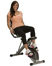 Exerpeutic 400XL Inklapbare lig-hometrainer, reumbent bike met hartslagmeting, zwart-grijs, één maat