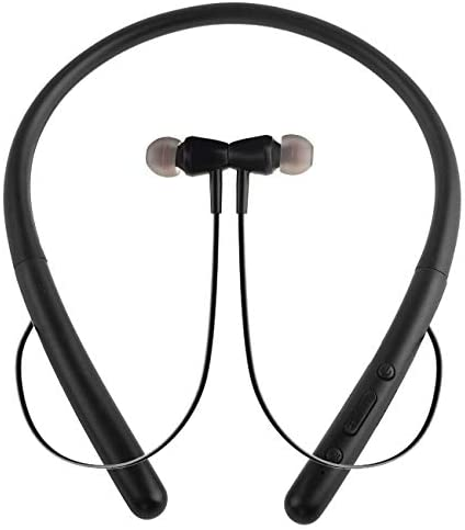 Bluetooth Headphones Wireless Neckband Bluetooth 5.0 Headset with 20 H Playtime, 10 mm Drivers, Magnetic Earbuds, Crystal-Clear Voice and Noise Cancelling Mic, Sweatproof and Lightweight (Black)