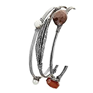 Rosemarie Collections Women's Boho Feather Faux Pearl Triple Bangle Bracelet Set