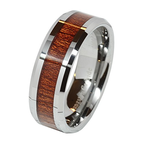 Tungsten Carbide Inlay Beveled Wedding