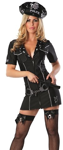 Playboy Officer Bunny Costume, Black, -