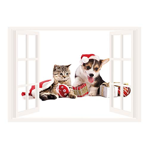SCOCICI Removable Wall Sticker/Wall Mural/Christmas,Dog and Cat in Santa Hats with Surprise Boxes and Balls New Year Celebration Decorative,Red White Brown/Wall Sticker Mural