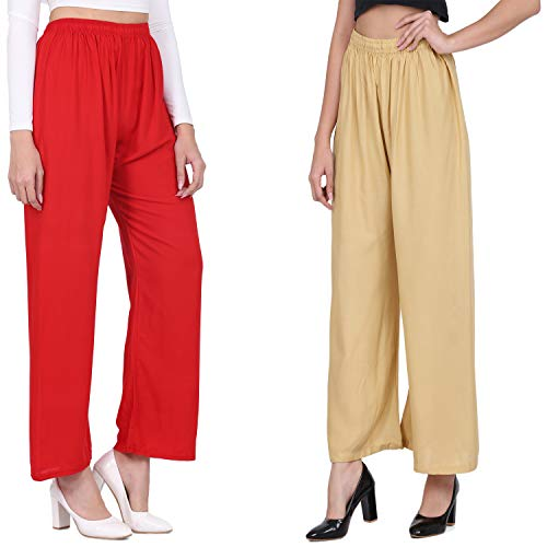 Ramp Bottoms Regular,Flared,Relaxed Fit Women's Palazzo Sharara Rayon Plain Trousers pant For Casual/Formal Wear Sizes (28 To 38) (Red Color Variation)