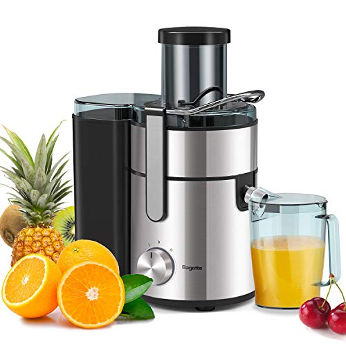 Bagotte Juicer Upgrade 1000W Juicer Machines, Easy Clean Juice Extractor 3.3″ Wide Mouth Centrifugal Juicer for Whole Fruit Vegetable, Juicer Recipe Book & Brush, Anti-drip, Dual-Speed, BPA-Free, Large