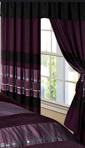 3-Layer Modern PURPLE BLACK SILVER Chenille Curtain Set with attached valance and sheer back