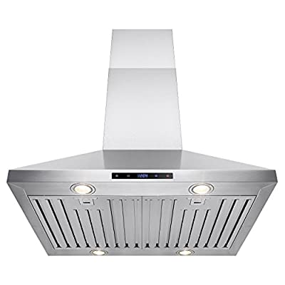 "FIREBIRD Stainless Steel 30"" Euro Style Island Mount Range Hood LED Screen"