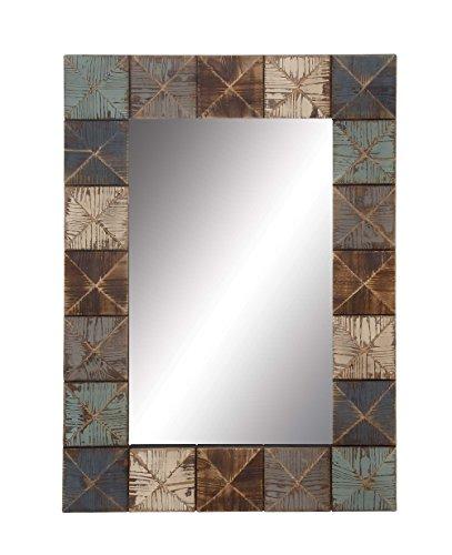 Deco 79 98725 Rectangular Wooden Wall Mirror, 37″ x 27″, Multi-Colored