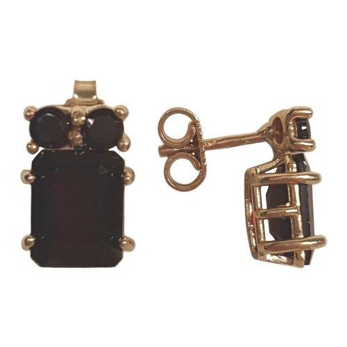 Clearance Boucles d'Oreilles Femme en Or 14 carats Jaune avec Grenat, 3.6 Grammes