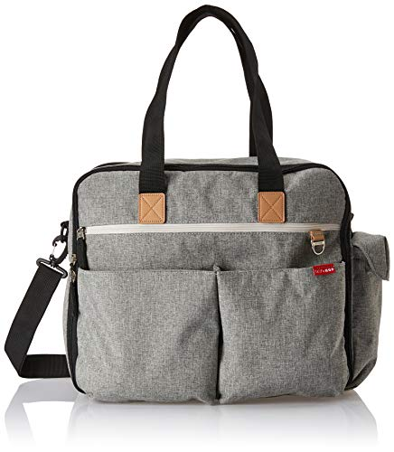 Skip Hop Weekender Travel Diaper Bag Tote with Matching Changing Pad, Duo Signature, Grey Melange