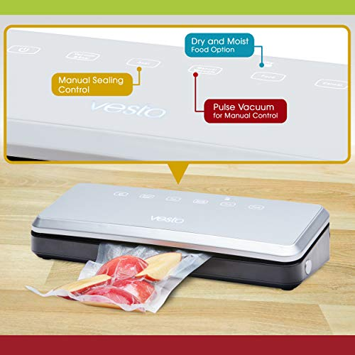Vacuum Sealer by Vesta Precision - Vac 'n Seal | Extends Food Freshness |  Perfect for Sous Vide Cooking | | Dry and Moist Food Mode | Automatic and