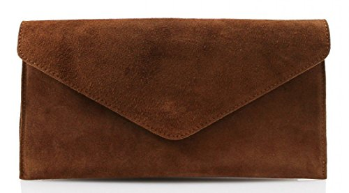 bag bag Suede Clutch Genuine bag bag Evening Underarm Leather bag Large Italian Envelope Shaped bag Party bag Genuine Brown Shoulder Wrist Verapelle Suede pwqwF6nv