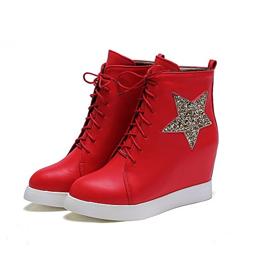 Allhqfashion Women's Closed Round Toe Blend Materials PU Low-top Boots Red dBeoQ