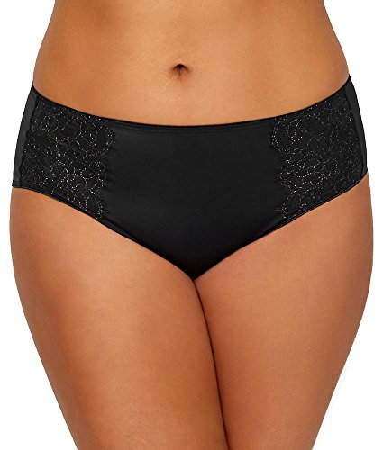 Curvy Couture Luminous Lace Hipster Panty (1275) 2X/Black