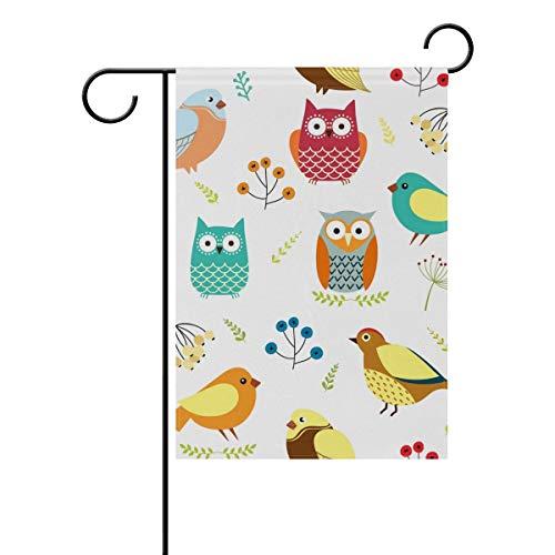 HUVATT Cute Owls Birds Garden Yard Flag Banner for Outside House Flower Pot Double Side Print