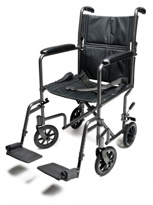Everest & Jennings Steel Transport Chair, 17'' Silver Vein by Everest & Jennings