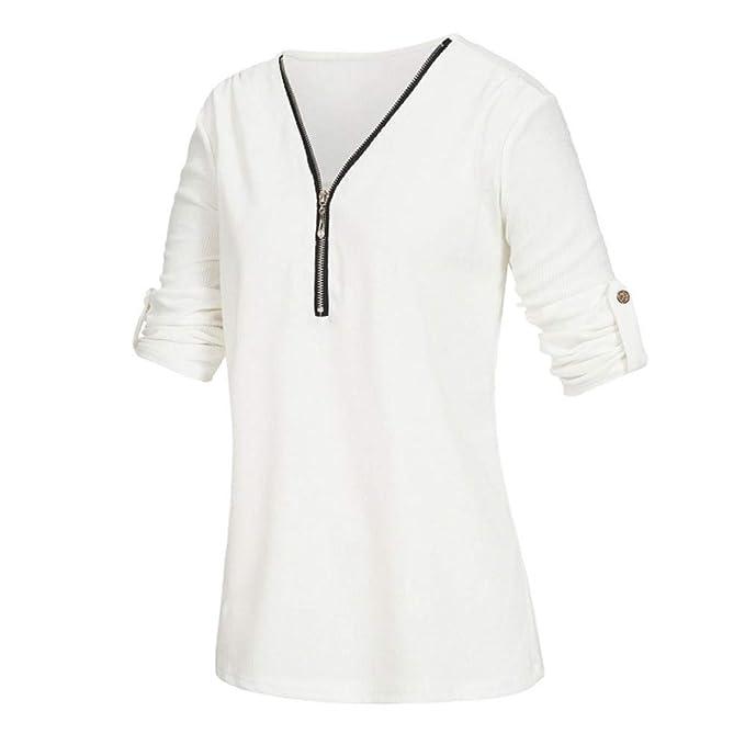 Amazon.com: Big Promotion! Teresamoon Womens Casual Tops Shirt Ladies V Neck Zipper Loose T-Shirt Blouse Tee Top: Arts, Crafts & Sewing