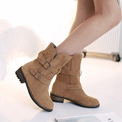 del basso di Camel doppia di cilindro tacco Natale QXregalo stivali cintura grande fibbia Euro americane donne dimensione ZQ nZpWYOT1q