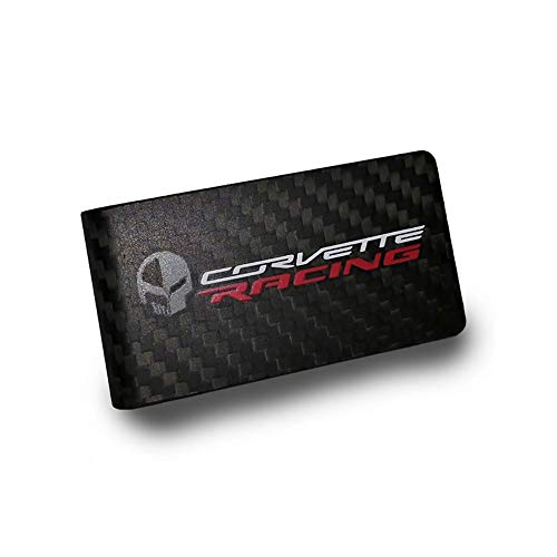 C7 Corvette Racing Jake Skull Carbon Fiber Money Clip - Black
