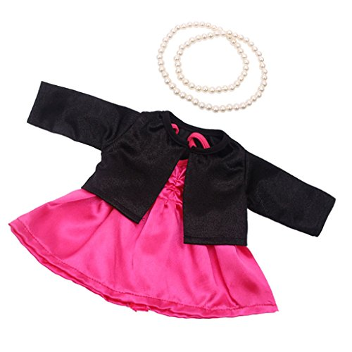 MonkeyJack Dolls Rose Party Dress Outfit (3pcs - Dress, Coat, Necklace) for 43-45cm Zapf Baby Born Doll Clothing