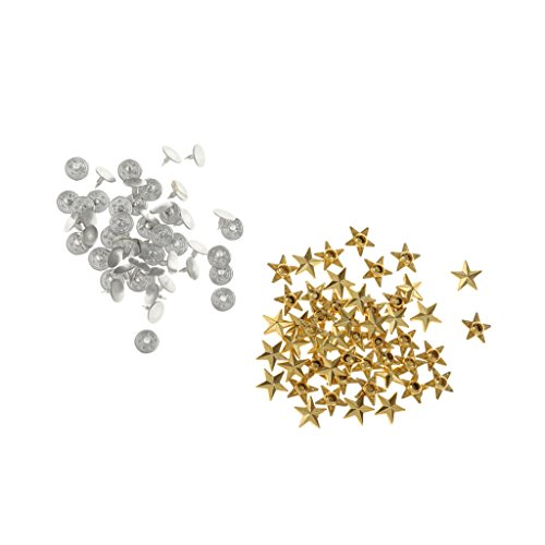 MagiDeal 50 Set DIY Star Rivets Snap Studs Alloy Decorative Spikes Buttons Garment DIY Accessory - (Gold Star Button)