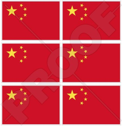 """CHINA Chinese Flag People's Republic of China 40mm (1,6"""") Mobile Cell Phone Vinyl Mini Stickers, Decals x6"""