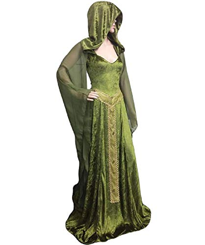 donne Vestito Colore Retrò Verde Maxi Party Puro Hoode Halloween Howme Moda pwqF1dp