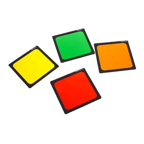 Lee Filters 4x4'' Black and White Polyester Filter Set ( Yellow #8, Yellow/Green #11, Orange #21, Light Red #23A)