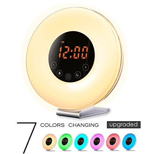Sunrise Wake Up Light Digital Alarm Clock   Sunrise   Sunset Simulation With Fm Radio  7 Colors  6 Natural Sounds And Touch Control For Bedrooms  White