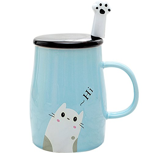 Angelice Home Cute Kitty Mug Funny Ceramic Cofffee Mug with Stainless Steel Paw Spoon, Novelty Coffee Mug Gift for Crazy Cat Lovers