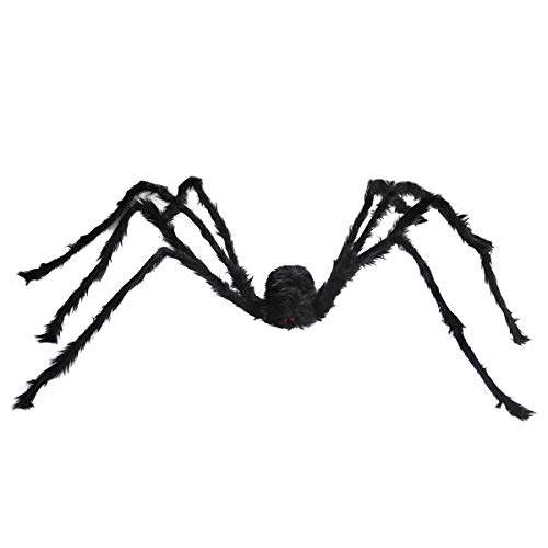 (Funny Party 6.6 Ft. 200cm Giant Spider Halloween Scary Decoration, Fake Large Hairy Spider Props Outdoor Decor Yard)